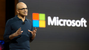 Microsoft chief executive officer Satya Nadella talks at a Microsoft news conference October 26, 2016 in New York. / AFP / DON EMMERT (Photo credit should read DON EMMERT/AFP/Getty Images)