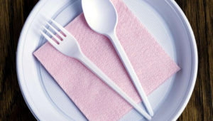 Plastic disposable set of utensils for a picnic.