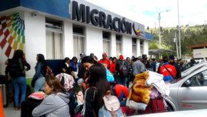 Oficina de Migración de Ecuador en el puente Rumichaca, frontera con Colombia.