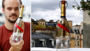The Mumm champagne house teamed up with designer Octave de Gaulle, who has specialised in conceiving of everyday objects for the final frontier, to develop the space-age bottles. PHOTO: AFP