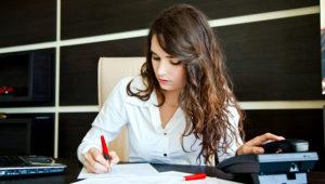 Woman office worker.