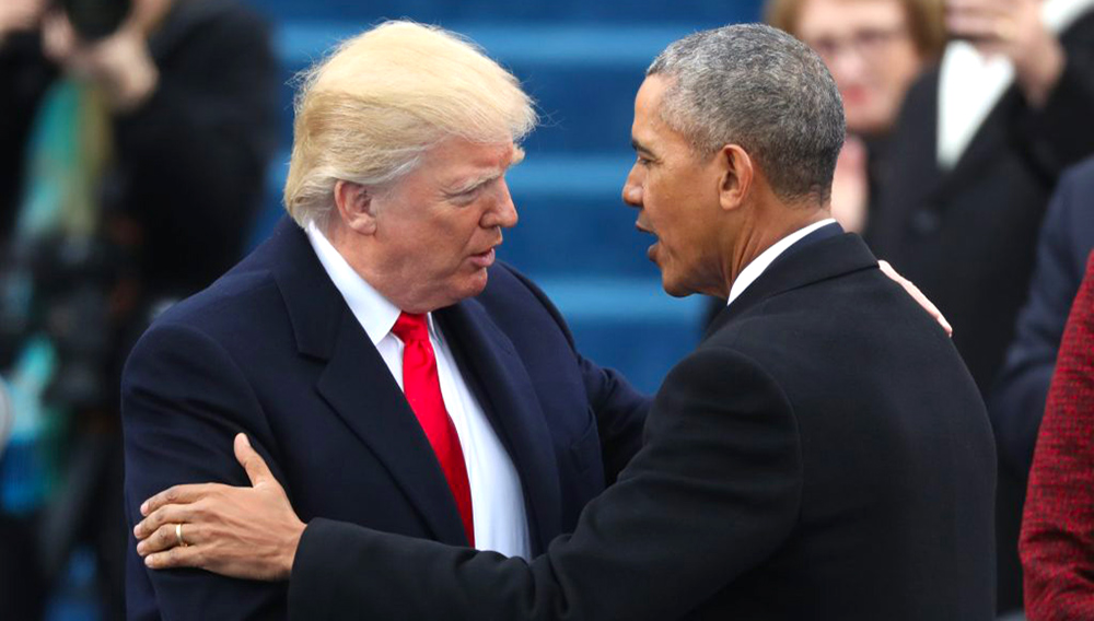 U.S. President-elect Donald Trump greets outgoing President Barack Obama before Trump is inaugurated during ceremonies on the Capitol in Washington, D.C., on Jan. 20, 2017. Photo by Carlos Barria/Reuters