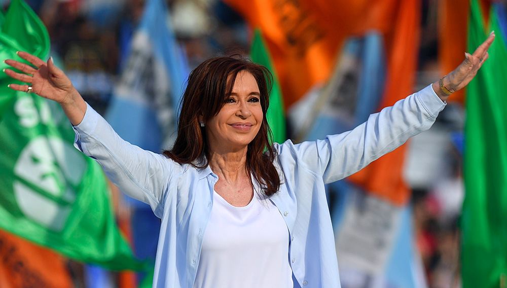 This file photo taken on October 16, 2017 shows Argentina's former President and Buenos Aires senatorial candidate for the Unidad Ciudadana Party, Cristina Fernandez de Kirchner waving to supporters at Juan Domingo Peron stadium in Avellaneda, Buenos Aires during the closure of her campaign ahead of the October 22 legislative election. On November 30, 2017 the Federal Appeal Court rejected an appeal by former Argentine president and current senator Cristina Kirchner and ratified the process for alleged money laundering. / AFP PHOTO / EITAN ABRAMOVICH