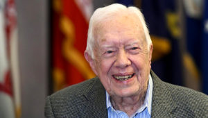 On Tuesday, Aug. 14, 2018, Former President Jimmy Carter, 93, announced he is backing Democrat Stacey Abrams in the race for Georgia governor, becoming the third U.S. president to weigh in. (AP PHOTO/JOHN AMIS)