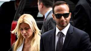 Foreign policy advisor to US President Donald Trump's election campaign, George Papadopoulos and his wife Simona Mangiante Papadopoulos arrive at US District Court for his sentencing in Washington, DC on September 7, 2018. (Photo by MANDEL NGAN / AFP)