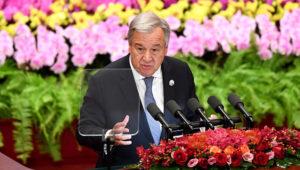 António Guterres, secretario general de las Naciones Unidas, pronuncia un discurso durante la ceremonia inaugural del Foro sobre la Cooperación China-África en el Gran Salón del Pueblo, en Beijing, el lunes 3 de septiembre de 2018. (Madoka Ikegami/Pool Foto vía AP)