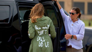 PHOTO: First lady Melania Trump returns to Washington after visiting a detention center for immigrant children in Texas. Her choice of jacket from Zara caused a stir. APphoto by andyharnik.