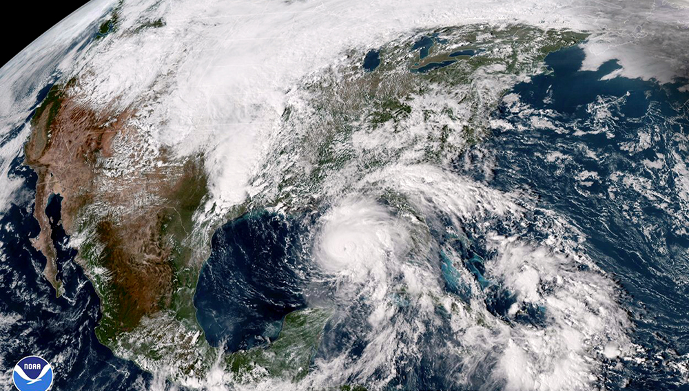 This satellite image made available by NOAA shows Hurricane Michael in the Gulf of Mexico on Tuesday, Oct. 9, 2018 at 3:17 p.m. EDT. NOAA via AP