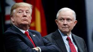 FILE - President Donald Trump sits with Attorney General Jeff Sessions during the FBI National Academy graduation ceremony in Quantico, Va., Dec. 15, 2017. Photo: AP