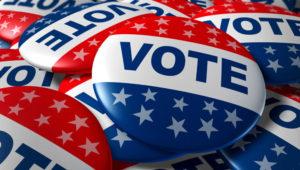 Pines con los colores y estrellas de la bandera de Estados Unidos y al centro la palabra Vote. Shutterstock