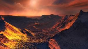 """Una imagen publicada por el Observatorio Europeo del Sur (ESO) el 13 de noviembre de 2018, muestra una impresión artística de la superficie de un planeta """"super-Tierra"""" que se ha descubierto orbitando la estrella más cercana a la Tierra. European Southern Observatory/AFP / Handout"""