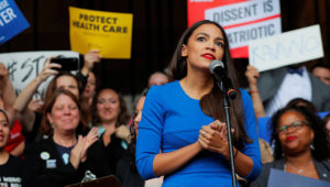 Alexandria Ocasio-Cortez speaks at a really against Supreme Court Justice Brett Kavanaugh in Boston, on October 1, 2018. (Reuters / Brian Snyder)