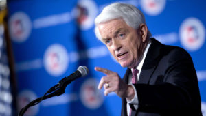 Tom Donohue, president and chief executive of the U.S. Chamber of Commerce, speaks in Washington in January 2014. (Andrew Harrer/Bloomberg News)
