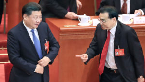 Chinese President Xi Jinping, left, with Premier Li Keqiang at the National People's Congress in March (Photo by Akira Kodaka)