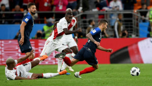 YEKATERINBURG, June 21, 2018 (Xinhua) — Lucas Hernandez (1st R) of France competes during the 2018 FIFA World Cup Group C match between France and Peru in Yekaterinburg, Russia, June 21, 2018. (Xinhua/Du Yu)