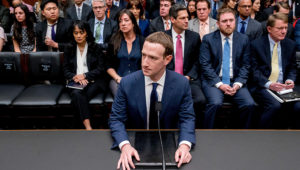 Mark Zuckerberg testifying before a House energy and commerce hearing on Capitol Hill on 11 April. Photograph: Andrew Harnik/AP