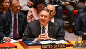 Secretary of State Michael R. Pompeo speaks at a United Nations Security Council Session on Venezuela, at the United Nations Security Council Chamber, in New York City, January 26, 2019.
