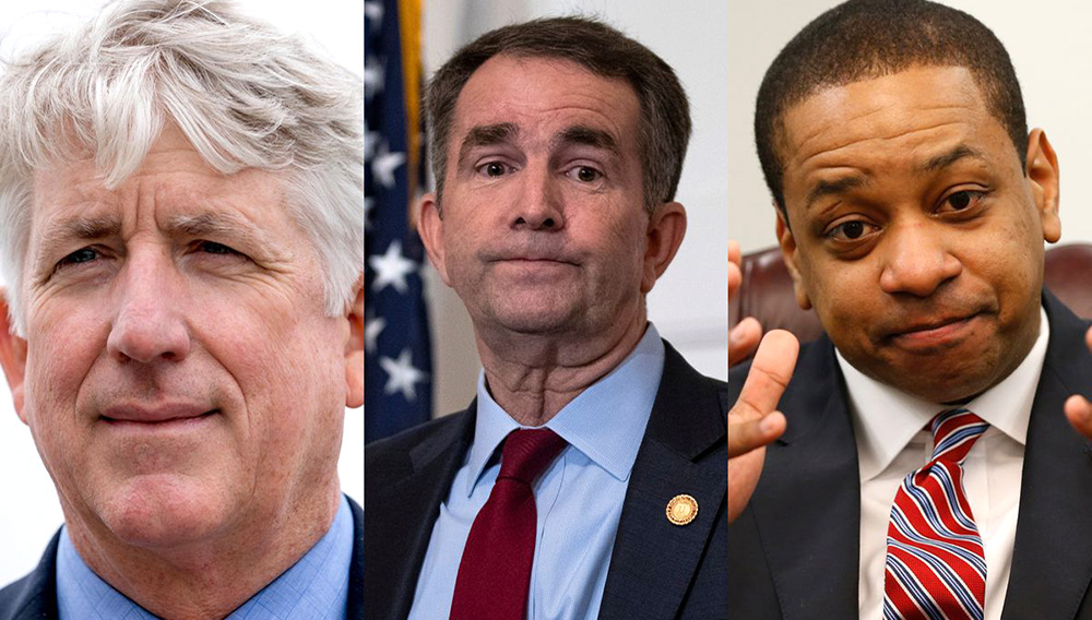 Left to right: Virginia Attorney General Mark Herring, Governor Ralph Northam, and Lt. Gov. Justin Fairfax. All three are now ensnared in scandal. AP/Getty Images