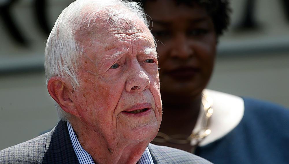 ARCHIVO - Foto de archivo, 18 de septiembre de 2018, del expresidente estradounidense Jimmy Carter en Plains, Georgia. El viernes 22 de marzo de 2019, el 39no presidente cumplió 94 años y 172 días, superando el récord anterior del expresidente George H.W. Bush, quien falleció en noviembre. (AP Foto/John Bazemore, File)