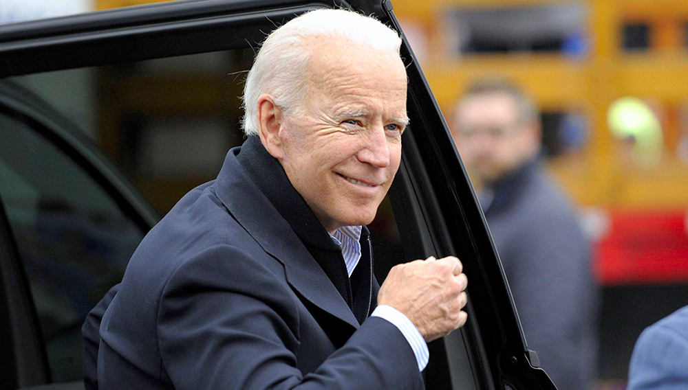 Former US vice president Joe Biden arrives at a rally organized by UFCW Union members to support Stop and Shop employees on strike throughout the region in Dorchester, Massachusetts, on April 18, 2019. Joseph Prezioso—AFP/Getty Images