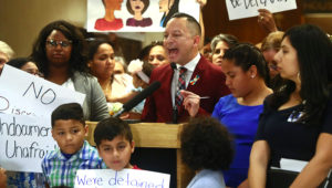 Rep. Carlos Guillermo Smith (D-Orlando) speaks out against Family Separation Bills HB 527 and SB 168 Tuesday, April 23, 2019, during a press conference in the Florida Capitol in Tallahassee, Fla. (AP Photo/Phil Sears)