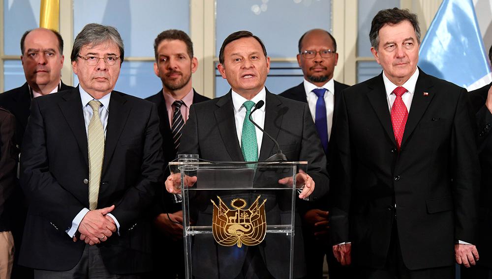 El canciller Néstor Popolizio presidió, acompañado del vicecanciller Jaime Pomareda, la reunión del Grupo de Lima que se realizó en el Palacio de Torre Tagle. 3 de mayo de 2019. Foto: Cancillería del Perú (Flickr)
