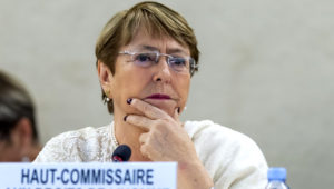 UN High Commissioner for Human Rights Chilean Michelle Bachelet talks about the situation of human rights in Venezuela, during the 41th session of the Human Rights Council, at the European headquarters of the United Nations (UNOG) in Geneva, Switzerland, 05 July 2019. EFE/EPA/MARTIAL TREZZINI