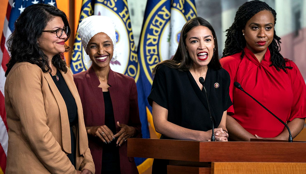 Democratic Representatives Rashida Tlaib (L), Ilhan Omar (C-L), Alexandria Ocasio-Cortez (C-R), and Ayanna Pressley (R) speak about President Trump's Twitter attacks against them in the US Capitol in Washington, DC, USA, 15 July 2019. EFE/Jim Lo Scalzo