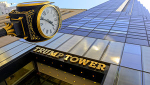 NEW YORK CIRCA APRIL 2015. The Trump Tower on Fifth Avenue and its clock, illustrates the high-end mixed use skyscrapers common in Manhattan which combine both commercial and residential use.   Robert Cicchetti / Shutterstock.com