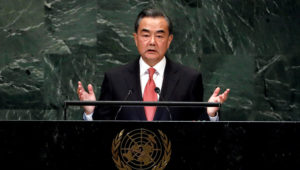 China's Foreign Minister Wang Yi addresses the 73rd session of the United Nations General Assembly, at U.N. headquarters, Friday, Sept. 28, 2018. (AP Photo/Richard Drew)
