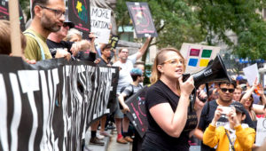 Protestors in front of the New York Public Library rally against ICE. | Photo: Daniel William McKnight