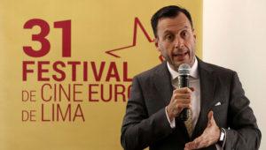 Diego Mellado, embajador de la Unión Europea en Perú, presenta la 31º edición del Festival de Cine Europeo, hoy en Lima. El festival exhibirá del 5 al 21 de noviembre 127 películas de 19 países en 7 ciudades de Perú. EFE/Paolo Aguilar