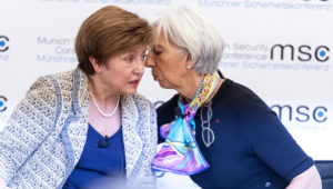 Christine Lagarde with Kristalina Georgieva, left, who has experience in international politics and development economics through working at the World Bank and as a European commissioner © Bloomberg