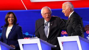 Sens. Kamala Harris (left), Bernie Sanders, and former Vice President Joe Biden during the Democratic Presidential Debate on Tuesday. | Win McNamee/Getty Images