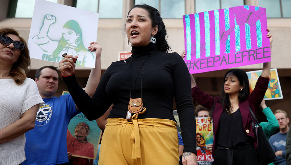 Alejandra Pablos speaks to supporters before her hearing at the federal building in downtown Tucson on Tuesday. An immigration judge, noting her arrest record, ordered that she be deported. (Photo: Mamta Popat/Arizona Daily Star)