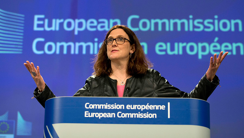 European Commissioner for Trade Cecilia Malmstroem said that Europe will not be intimidated by protectionism. (AP)