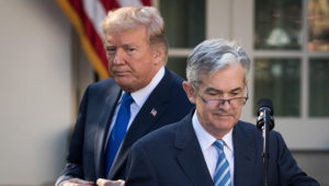 President Donald Trump looks on as his nominee for the chairman of the Federal Reserve Jerome Powell takes to the podium during a press event in the Rose Garden at the White House, November 2, 2017 in Washington, DC. | Getty Images