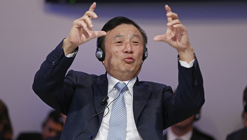 Ren Zhengfei, president of Huawei Technologies, speaking during the 2015 World Economic Forum in Davos, Switzerland. PHOTOGRAPH BY JASON ALDEN — BLOOMBERG/GETTY IMAGES