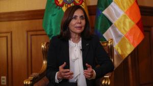 La canciller interina de Bolivia, Karen Longaric, habla en entrevista con Efe ayer viernes, en La Paz (Bolivia). EFE/ Martín Alipaz