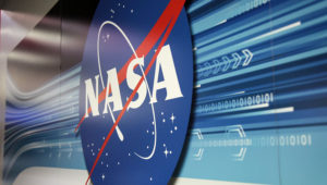 The NASA logo on a wall at Kennedy Space Center. Arlene Islas, AZPM Staff