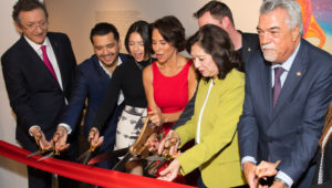 President Latin Academy of Recording Arts & Sciences Gabriel Abaroa, Christian Nodal, Angela Aguilar, Giselle Fernandez, President of The GRAMMY Museum Michael Sticka, First District Supervisor Hilda Solis, Deputy Los Angeles Council Albert Lord and Director LA County Department of Arts and Culture Kristin Sakoda at Latin Music Gallery Ribbon Cutting at the GRAMMY Museum on November 18, 2019 in Los Angeles, California. Nov. 17, 2019 - Source: Getty Images North America