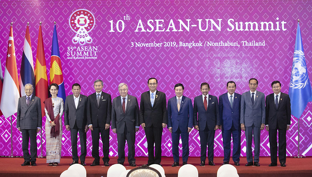 UN secretary general Antonio Guterres, fifth from left poses for a photograph with leaders of ASEAN from left, Malaysia Prime Minister Mahathir Mohamad, Myanmar State Counsellor Aung San Suu Kyi, Philippines President Rodrigo Duterte, Singapore Foreign Minister Vivian Balakrishnan, Thailand Prime Minister Prayuth Chan-ocha,Vietnam Deputy Prime Minister and Foreign Minister Phạm Binh Minh, Brunei Sultan Hassanal Bolkiah, Cambodia Prime Minister Hun Sen, Indonesia President Joko Widodo, and Laos Prime Minister Thongloun Sisoulith during ASEAN-UN summit in Nonthaburi, Thailand, Sunday, Nov. 3, 2019. (AP Photo/Wason Wanichakorn)