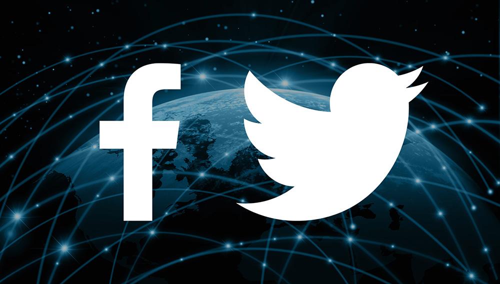 Logotipos de Facebook y Twitter. Photo: marketingland.com