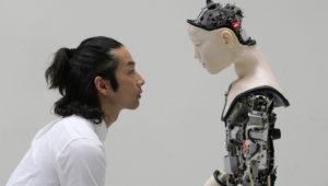 Co(AI)xistence, Justine Emard 2017, video installation, 12′ with Mirai Moriyama & Alter (developed by Ishiguro lab, Osaka University and Ikegami Lab, Tokyo University). Justine Emard / Adagp, Paris 201