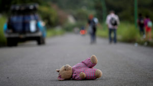 A doll of Central American migrant, part of a caravan trying to reach the U.S., is pictured along the highway to Arriaga from Pijijiapan, Mexico, Oct. 26, 2018. GENEVA - The United Nations
