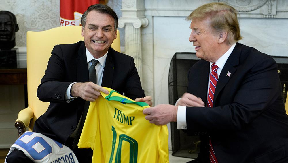 Brazilian President Jair Bolsonaro (L) met with US President Donald Trump at the White House in Washington in March 2019 (AFP Photo/Brendan Smialowski)