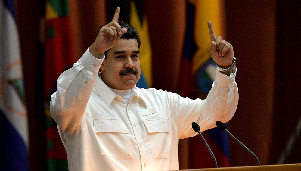 Venezuelan President Nicolas Maduro speaks at the closing ceremony of the XVI Political Council of the Bolivarian Alliance for the People of Our Americas (ALBA) at the Convention Palace in Havana, on December 14, 2017. YAMIL LAGE/Getty Images