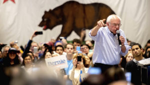 """Democratic presidential candidate Sen. Bernie Sanders, I-Vt., speaks during a town hall on his """"Green New Deal"""" at Marinaj Banquets & Events in Moreno Valley on Friday, Dec. 20, 2019. (Photo by Watchara Phomicinda, The Press-Enterprise/SCNG)"""