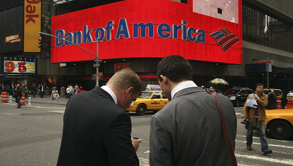 NEW YORK - APRIL 21: A Bank of America billboard dominates a street corner in Times Square on April 21, 2009 in New York City. Bank of America announced yesterday that it earned $4.2 billion in the first quarter. (Photo by Spencer Platt/Getty Images)