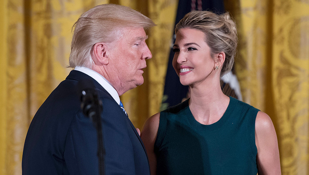 In this photo, Ivanka Trump smiles at President Donald Trump after he spoke at an event with small businesses at the White House in Washington, D.C., on Aug. 1, 2017. Photo: Getty Images/Jim Watson